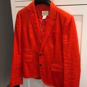 Jcrew linen orange blazer size 0